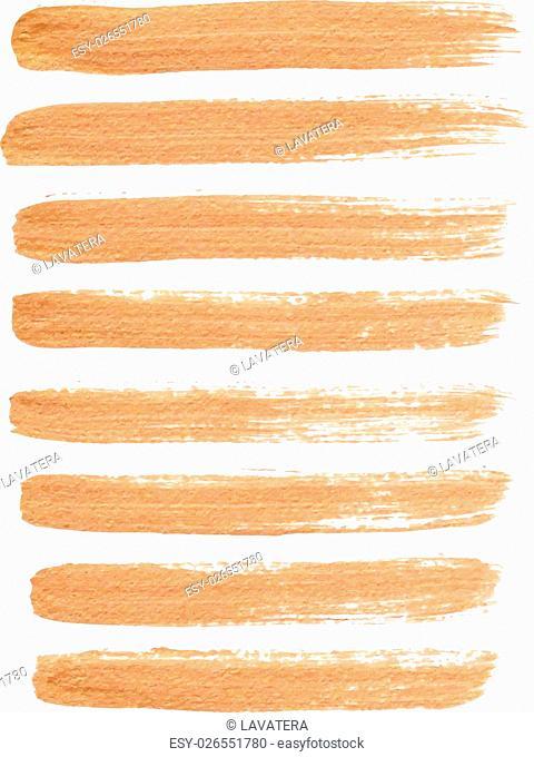 Gold ink vector brush strokes
