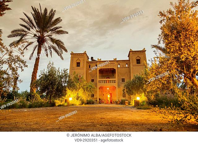 Hotel Espace Kasbah Dar Es Salam, Skoura oasis Palm Grove Palmeral. Morocco, Maghreb North Africa