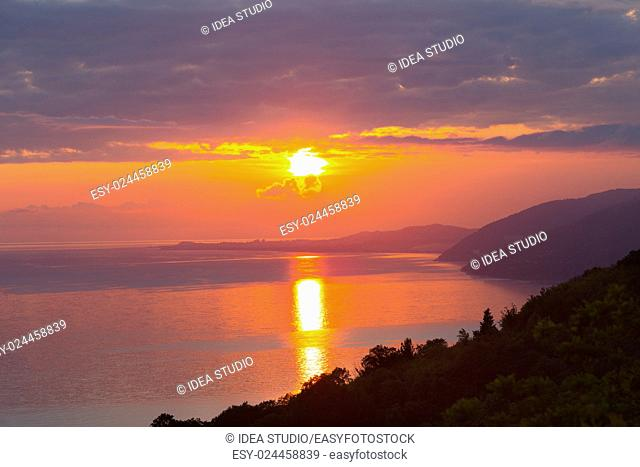 Sunset with sea and mountains aerial view, Abkhazia, Black sea