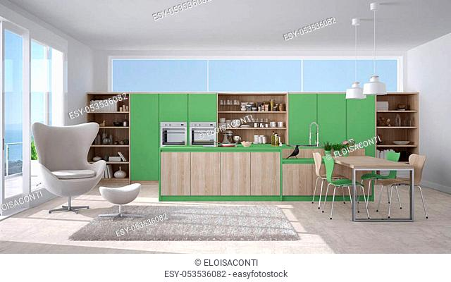 Modern white and green kitchen with wooden details, big window with sea or lake panorama