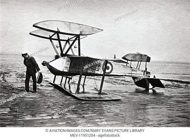 Man Standing Beside a Crashed Royal Flying Corp Sopwith Schneider