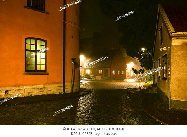 Visby, Gotland, Sweden The dark and mysterious streets of the medieval old town