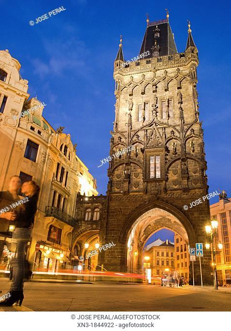 Prasna brana the Powder Tower, Namesti Republiky, Republic Square, Prague, Czech Republic, Europe