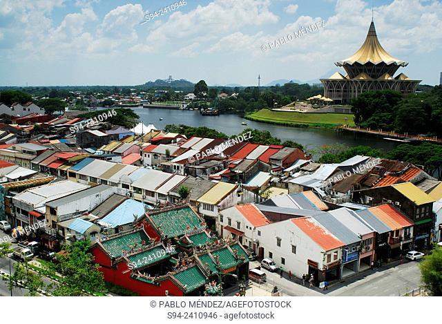 Overview of Old Chinatown an Parliament of Sarawak of Kuching, Sarawak, Malaysia, Borneo