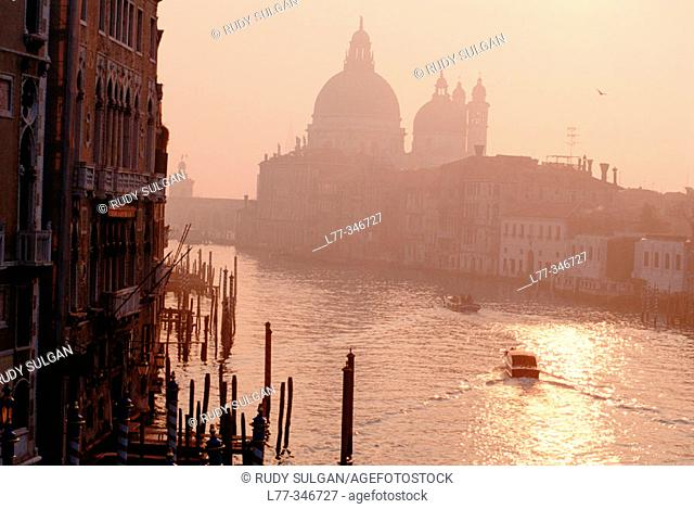 Grand Canal and Santa Maria della Salute church in background. Venice. Veneto, Italy