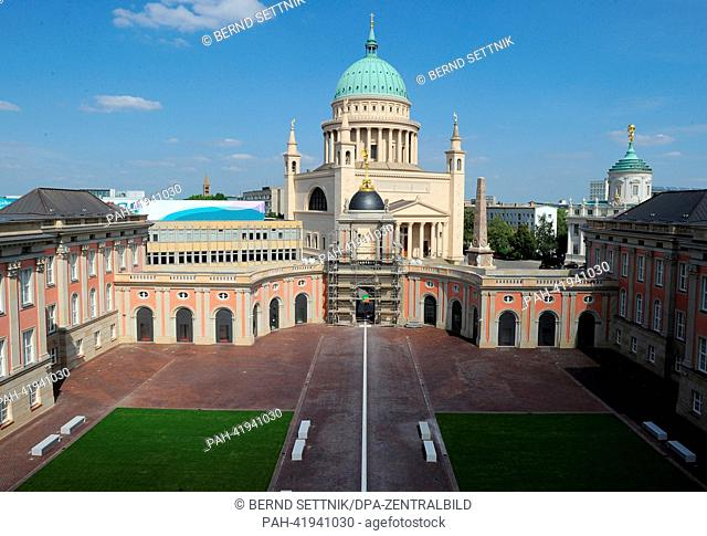 The interior court yard of the new parliament building of Brandenburg is pictured in Potsdam Germany, 22 August 2013. The new seat of the state parliament shall...