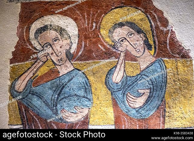 Susin wall paintings, 12th century, fresco torn off and transferred to canvas, come from the church of Santa Eulalia de Merida in Susin, Diocesan Museum of Jaca