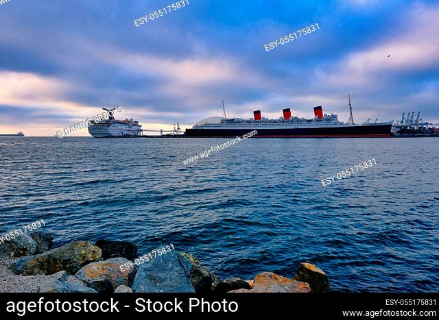 LONG BEACH, CALIFORNIA - November 1, 2019: Long Beach is known for its waterfront attractions, including the Queen Mary. Multiple sports will be held in Long...
