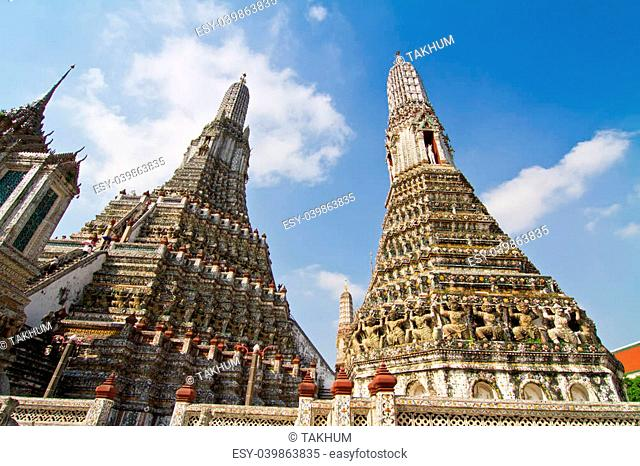 The Temple of Dawn Wat Arun and blue sky in Bangkok, Thailand