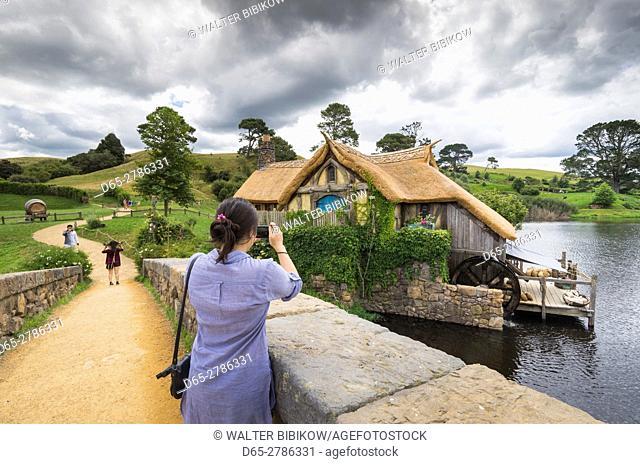 New Zealand, North Island, Matamata, Hobbiton Movie Set, Hobbit bridge