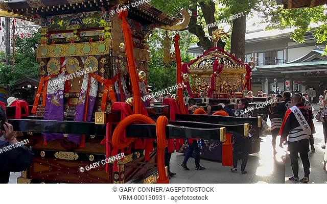Portabel shrine at Yushima Tenjin festival. Tokyo, Japan