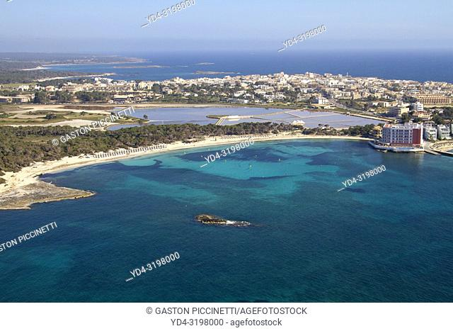 Colonia Saint Jordi. Aerial view of the South Coast of the island of mallorca, Balearic Island, Spain.