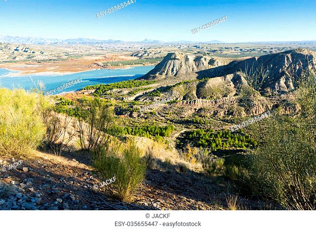 Landscape with reservoir near Baza. Andalusia, Spain