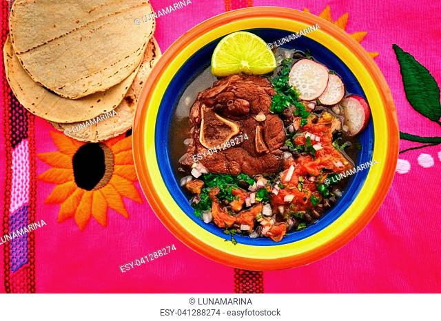 Mexican beef recipe with frijoles coriander and tortillas