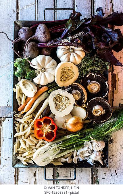 Soup ingredients (vegetables, noodles and mushrooms)