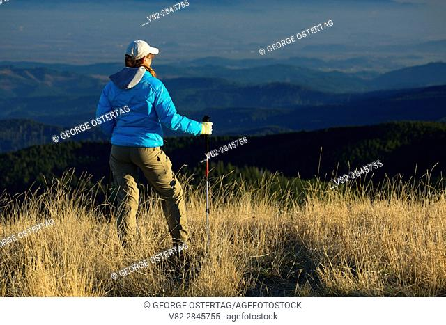 Hiker on Marys Peak summit, Marys Peak Scenic Botanical Area, Siuslaw National Forest, Oregon