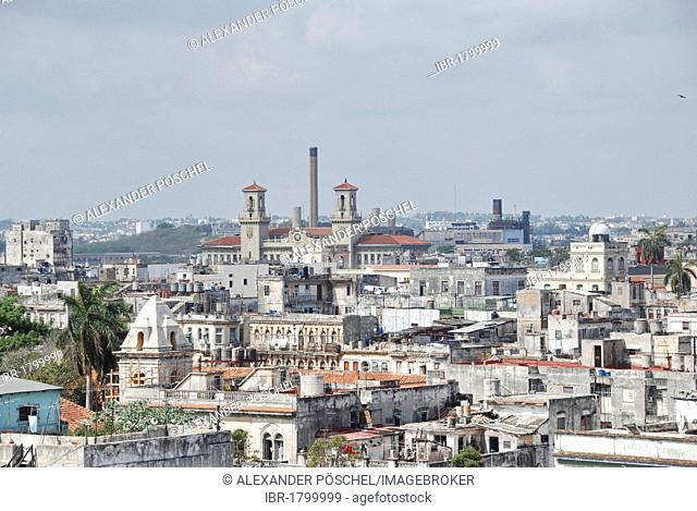 Panoramic view across Havana with the central station and Plaza Vieja, historic district of Havana, Cuba, Caribbean, Central America