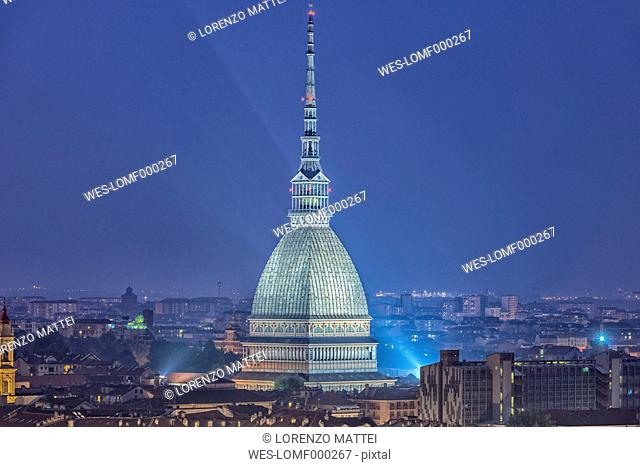Italy, Piemont, Turin, Aerial view with Mole Antonelliana at night