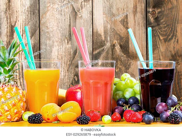 Fresh juice, Healthy drink on wood, breakfast concept, Nature fruits and vegetable