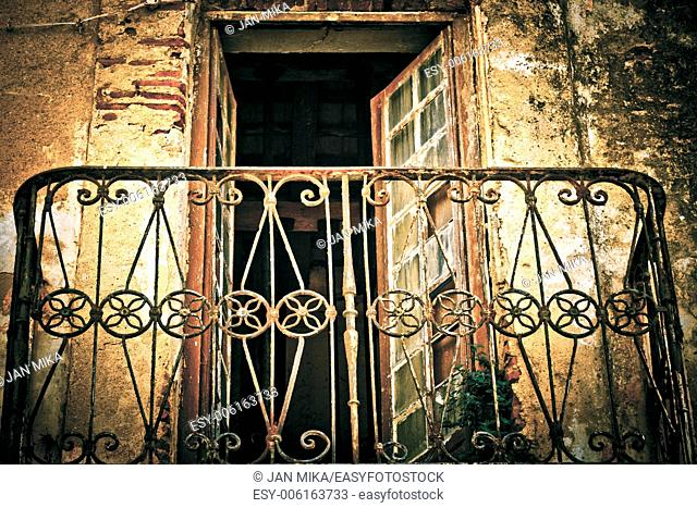 Abstract photo of old weathered rusty balcony