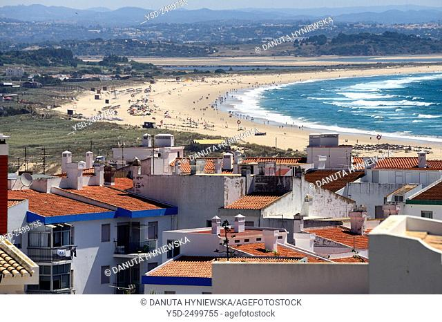 Europe, Portugal, Algarve, Faro district, Lagos, panoramic view of Meia Praia seen from the old town of Lagos, countryside seen in far background