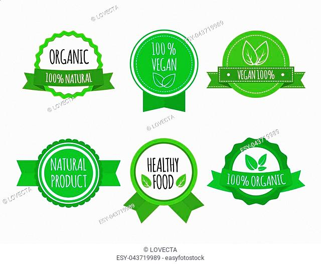 Set of bio healthy food badges on white background. Vegan, organic logos. Vector illustration