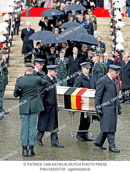Pallbearers carry the coffin of Belgian Queen Fabiola during the funeral at the Cathedral of St. Michael and St. Gudula in Brussels, Belgium, 12 December 2014