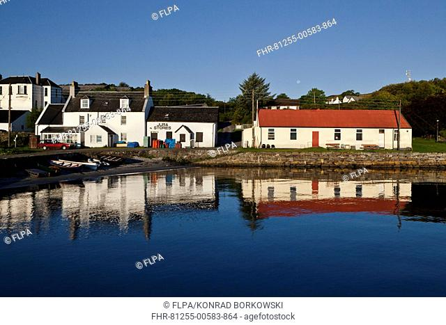 View of coastal village, Lodge, Cooperage, Jura Stores and Jura Hall, Craighouse, Isle of Jura, Inner Hebrides, Scotland