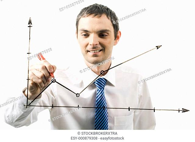Photo of graph being drawn by happy professional at during presentation