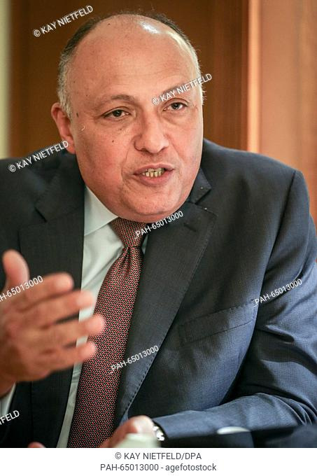 Egypt's Foreign Minister Sameh Schukri speaking during an interview to a journalist from the German Press Agency in Berlin, Germany, 12 January 2016