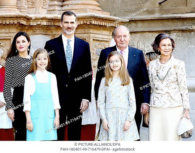 King Felipe, Queen Letizia, King Juan Carlos, Queen Sofia, Princess Leonor and Princess Sofia of Spain arrive at the La Seu Cathedral in Palma de Mallorca