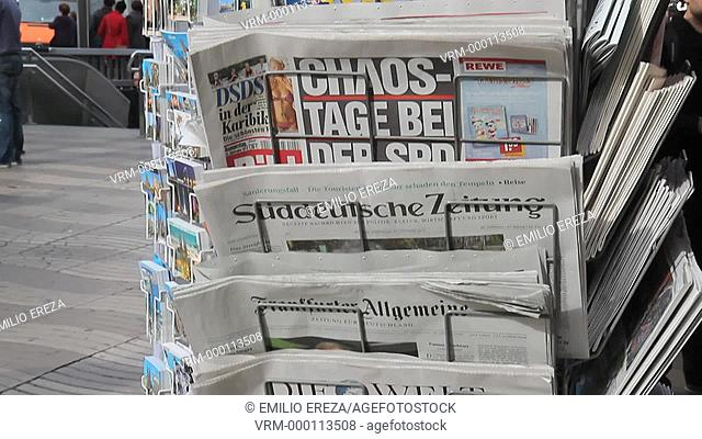 International newspapers. Rambla de las Flores. Barcelona, Catalonia, Spain