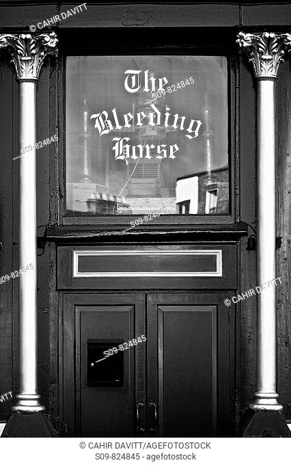 Detail of the front door of the popular pub, the Bleeding Horse, Dublin, Ireland