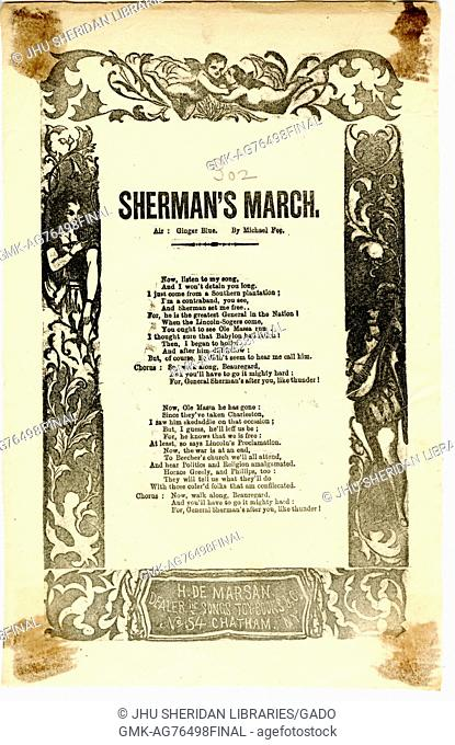 "Broadside from the American Civil War entitled """"Sherman's March, """" threatening Confederate troops by glorifying Union generals"