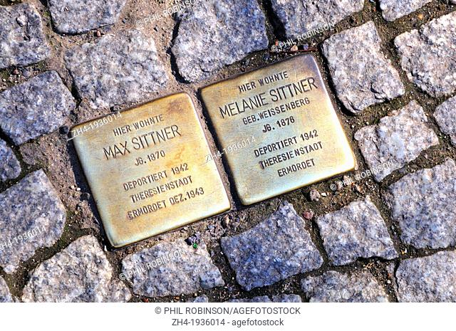 Berlin, Germany. Grosser Hamburger Strasse - plaques on the pavement with names and details of Jews deported to Teresienstadt