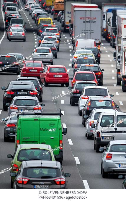 Enormous traffic jams near Cologne, Germany, 07 November 2014 .Germany's train drivers' union 'Gewerkschaft Deutscher Lokomotivfuehrer' (GDL) has announced to...