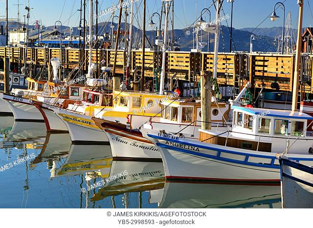 The Working Fleet is lined up at San Francisco's Fishermen's Wharf