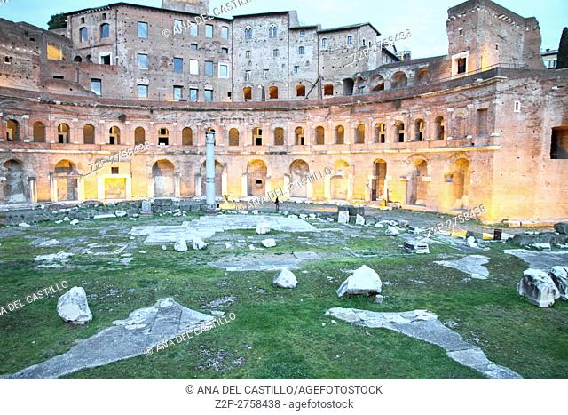 Ruins of Trajan's Market (Mercati di Traiano) in Rome, Italy. Nightfall