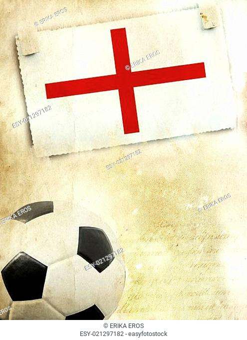 Photo of England flag and soccer ball