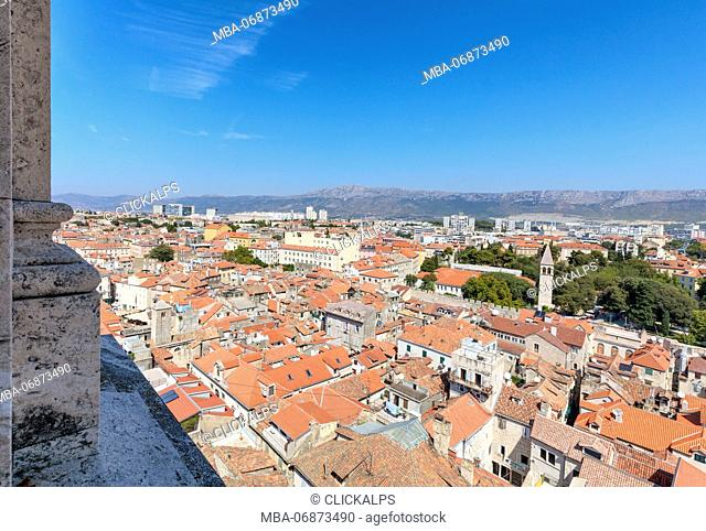 Elevated view of Split from the bell tower of the cathedral, Dalmatia, Croatia