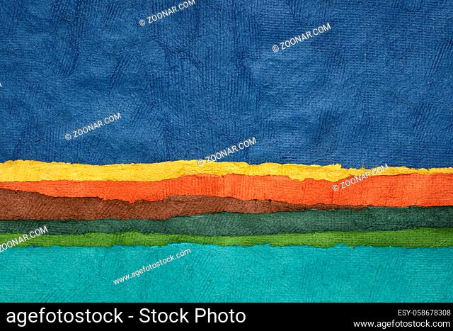lake and sky -abstract landscape created with sheets of textured colorful paper handmade in Mexico, travel and vacation concept