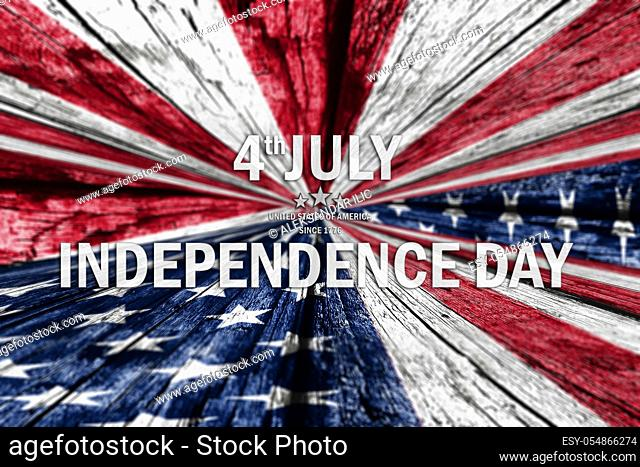 4th of July, Independence Day background with american flag over wooden texture