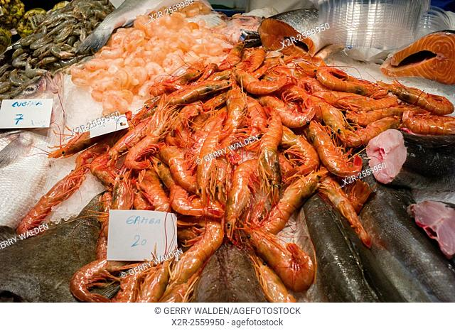 Various prawns and other seafood for sale in La Boqueria market, Barcelona