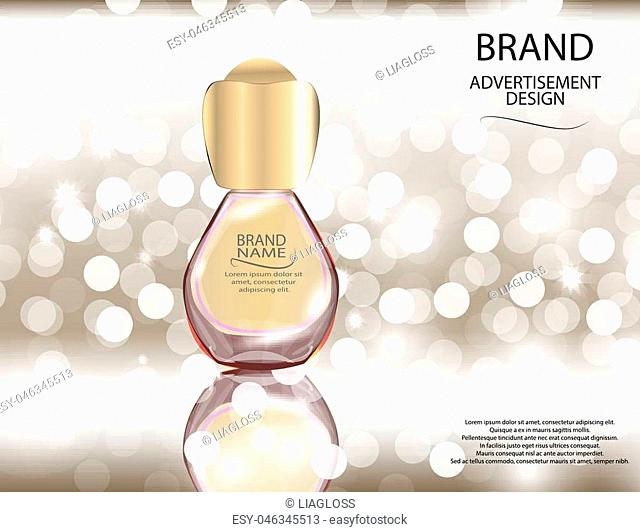 Glamorous perfume glass bottle on the sparkling effects background. Mock-up 3D Realistic Vector illustration for design, template