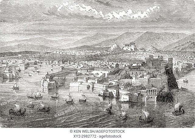 A view of ancient Athens, Greece from Piraeus. From Ward and Lock's Illustrated History of the World, published c. 1882