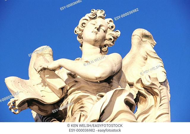 Baroque angel on Sant'Angelo Bridge. Rome. Italy
