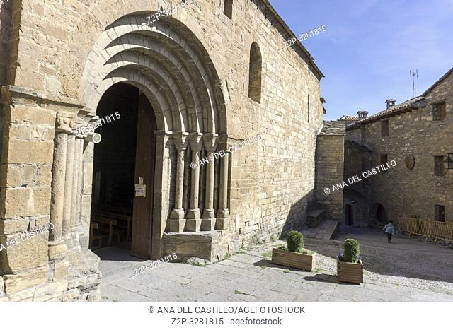 AINSA SPAIN ON MARCH 16, 2019: Ainsa is one of the Most Beautiful Villages to Visit in Aragón, Spain. Church of Santa Maria