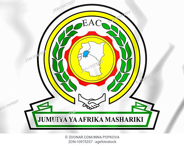 East African Community coat of arms. 3D Illustration