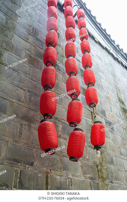 Red lantern on the wall, Jinli, Ancient cityscape, Chengdu, Sichuan Province, PRC