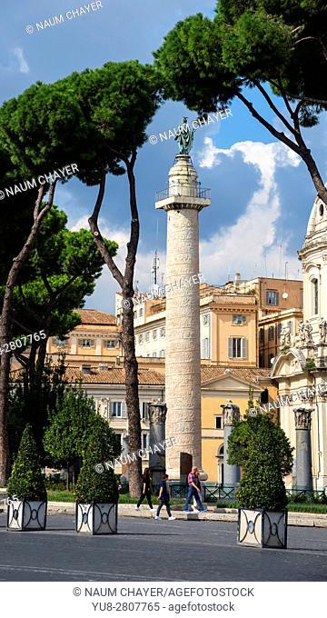 Famous Trajn column with frame of trees, Rome, Italy, Europe